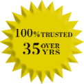 100% Trusted Over 35 Years Logo